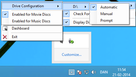 Through the My Movies Tray application, the user have quick access to drive configuration, allowing for configuration of manual or fully automated disc copying.