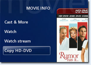 Copy HD DVD or Blu-ray button available on title page