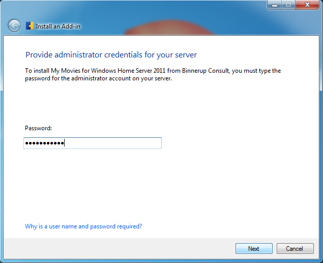 Type in your administrator password and click 'Next'.